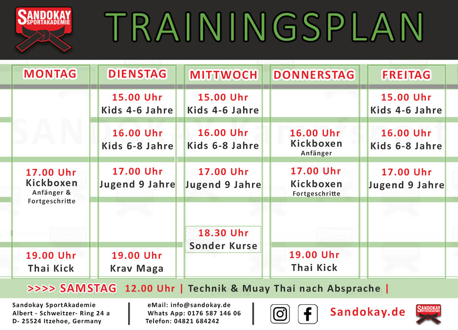 Kickboxen Itzehoe - Kursplan Kampfsportschule Sandokay