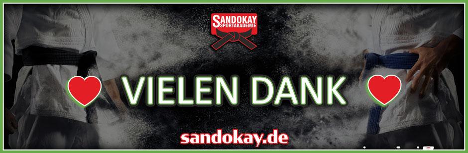 Banner zu Vielen Dank sagt Team Sandokay - Akademie für Kampfkunst
