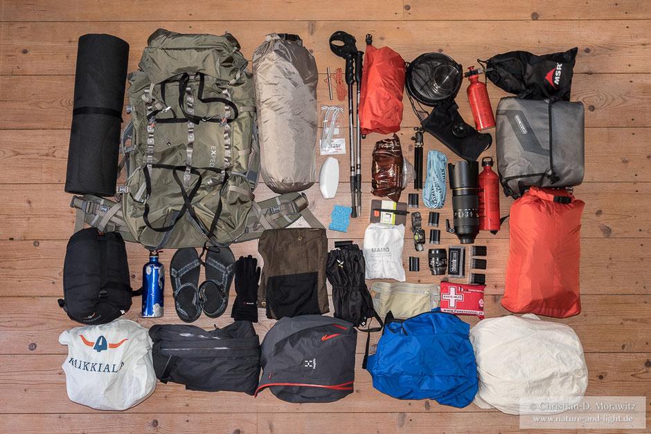 Für 3 Wochen Expedition muss man an viele Dinge denken und vor allem gut packen!