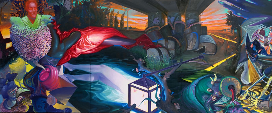 Under the bridge / oil on canvas / 162 x 390 cm