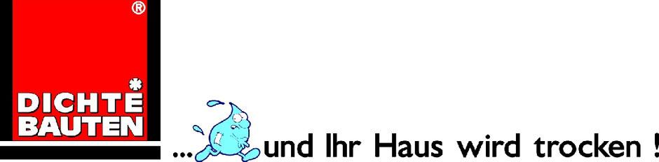 Logo Dichte Bauten mit Wassertropfen