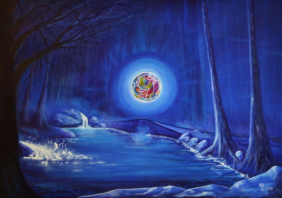 ENERGY, Mario Lorenz alias MaLo Magic Blue, Originalwerk in der Ausstellung SAVE THE WORLD im KUZ, KulturZentrum Kapfenberg 2021