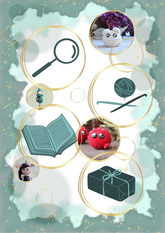 représentation du processus de fabrication d'un personnage magique fait à la main au crochet, histoire et emballage soigné