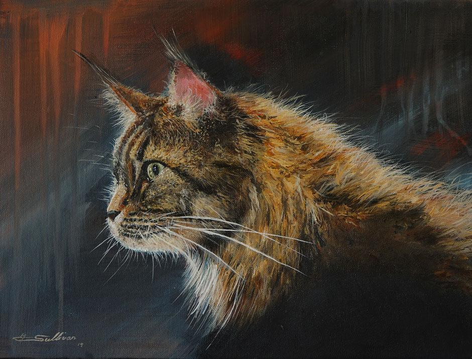 Cat Acrylic Painting    40x30cm Acryl auf Leinwand