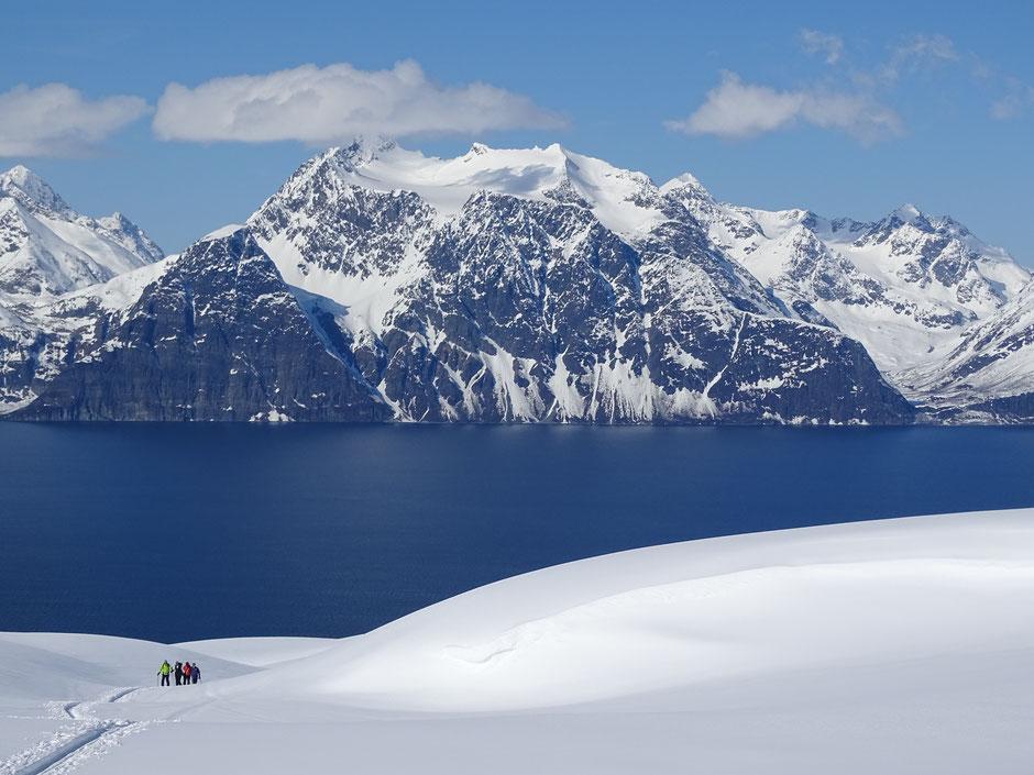 """Blick von der Ostseite des Kåfjords auf die nördliche Lyngenhalbinsel. Einer der schönsten Aussichts- und Skiberge ist der Sorbmegaisa 1288 m. Die Übersetzung des Names bedeutet so viel wie """"gefährlicher Berg""""."""