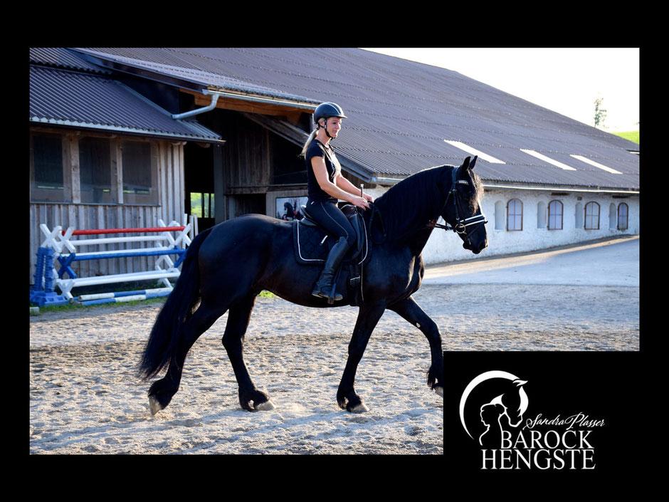 Sandra Plasser mit Ausbildungspferd