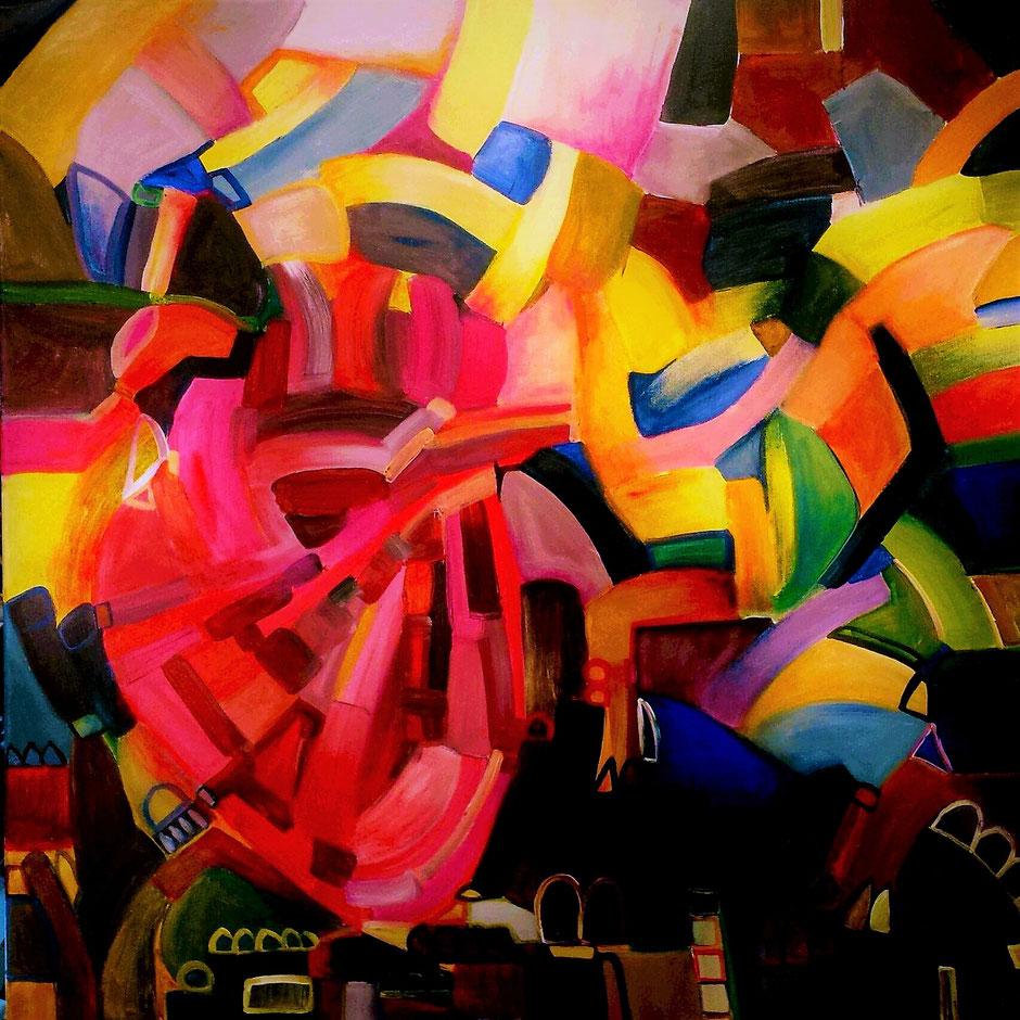 Das vernetzte Herz, 2017, Acryl, 80 x 80 cm