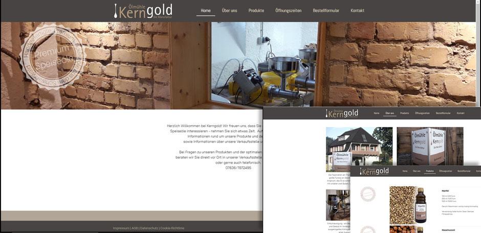 Web Design, www.oehlmuehle-kerngold.de