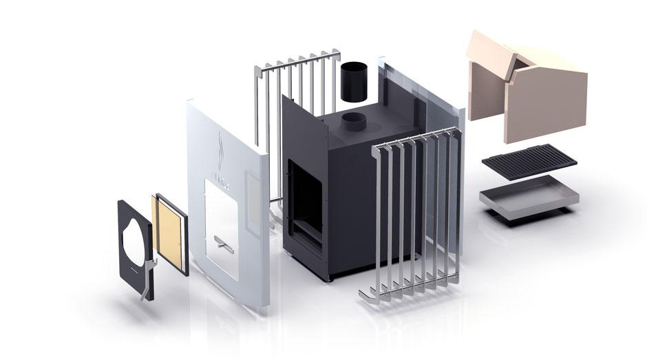 Produktdesign Produktgestaltung, Holz-Saunaofen für FINTEC, www.fintec.de