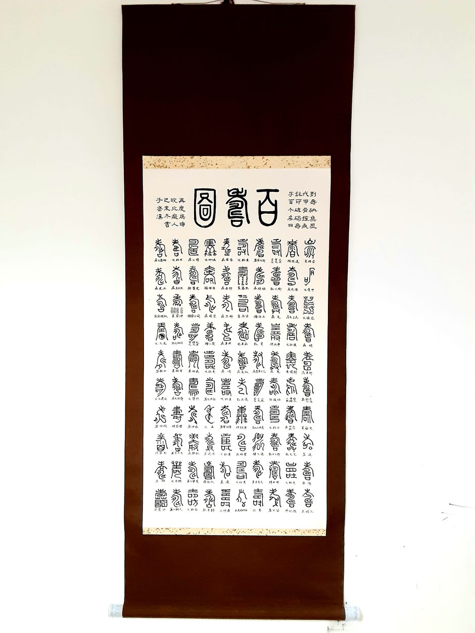 全体像。上の大きな三文字が、右から「百寿図」。左右に説明が書いてあります。