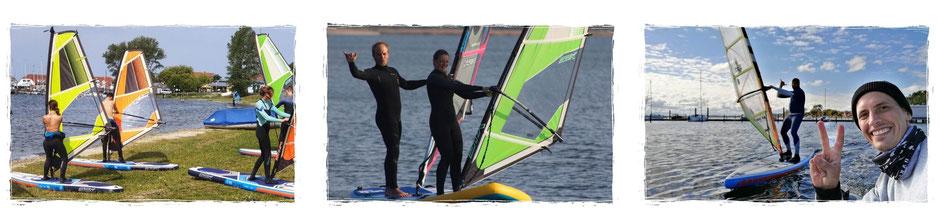 Windsurfen lernen im Windsurfkurs in Rerik an der Ostsee auf dem Salzhaff.