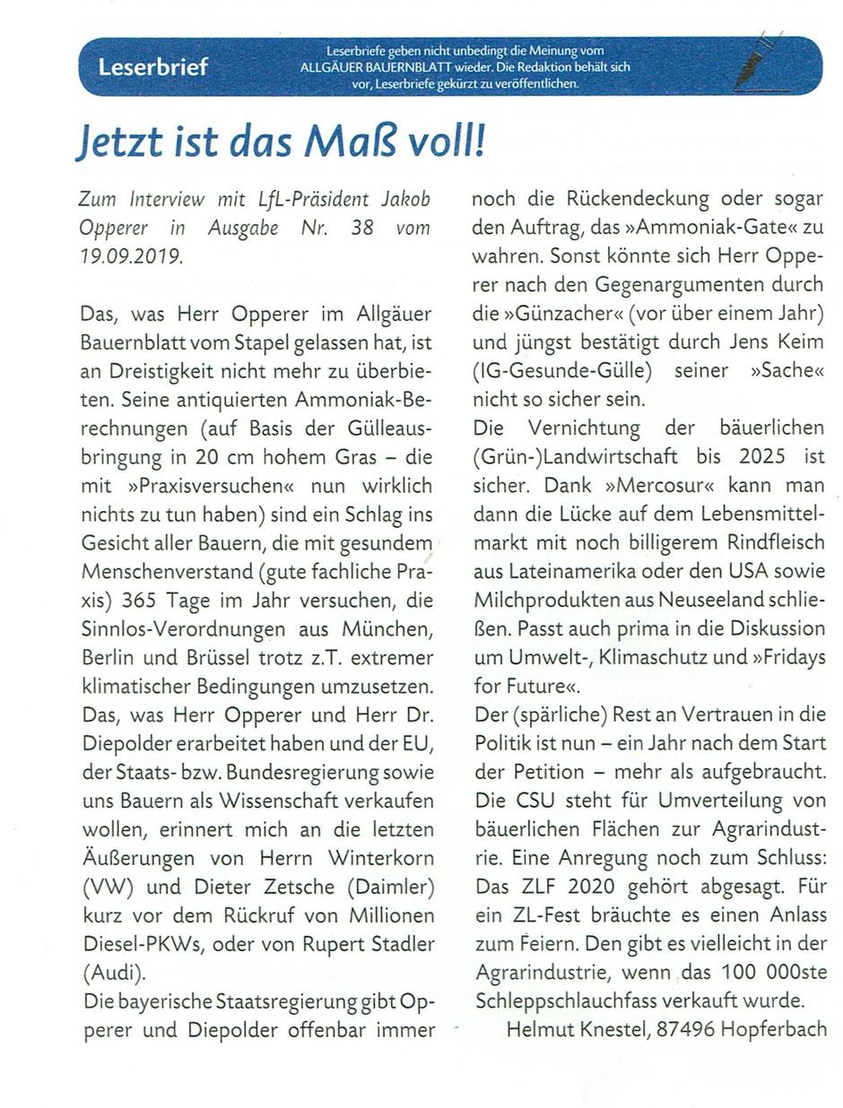 Leserbrief Allgäuer Bauernblatt - 04.10.2019 - Seite 14