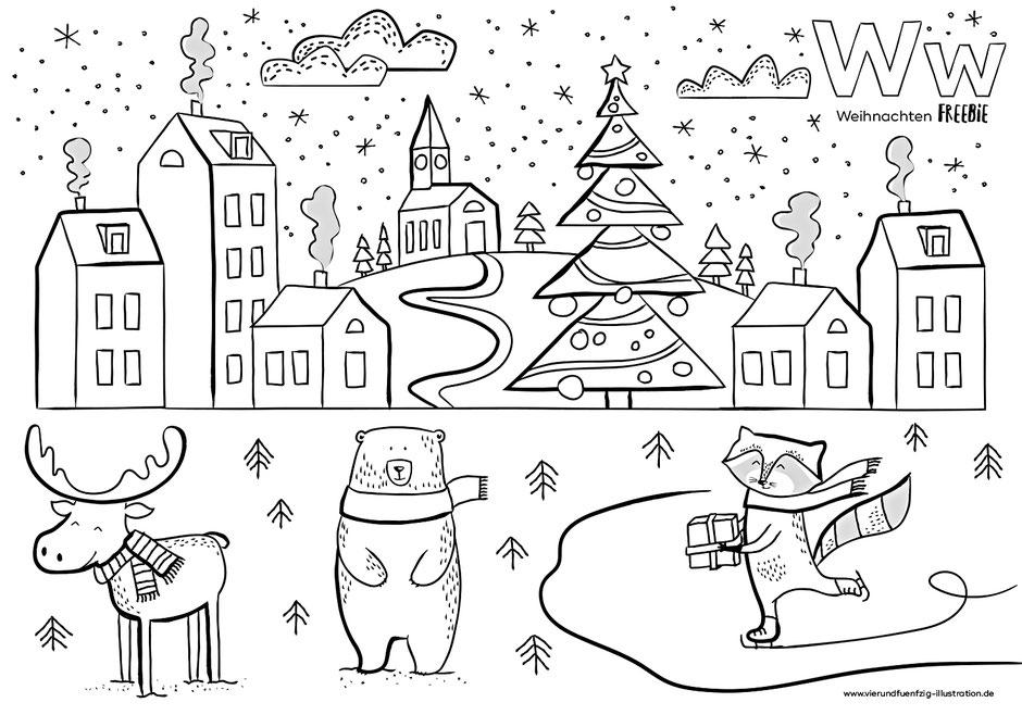 free printable Weihnachten - Vierundfünfzig Illustration