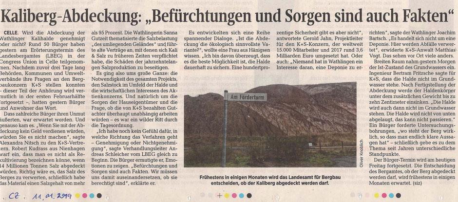 Quelle: Cellesche Zeitung, 11.01.2019