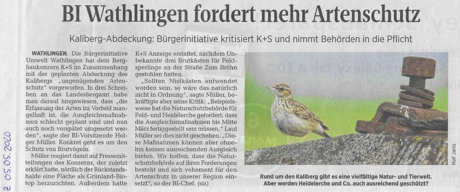Quelle: Cellesche Zeitung, 05.05.2020