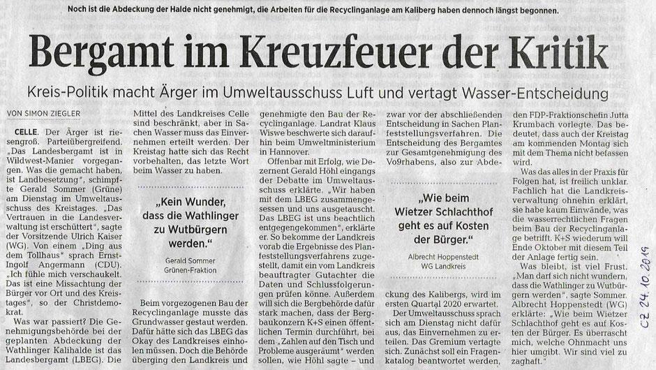 Quelle: Cellesche Zeitung, 24.10.2019