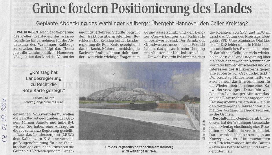 Quelle: Cellsche Zeitung, 03.07.2020