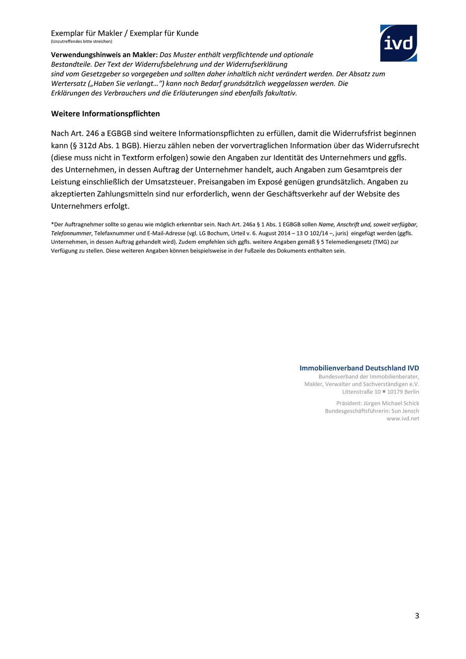 widerruf bei immobilienmaklervertrgen - Widerrufserklrung Muster