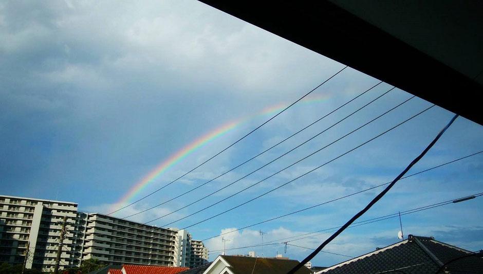 坊守がお寺から撮影した虹