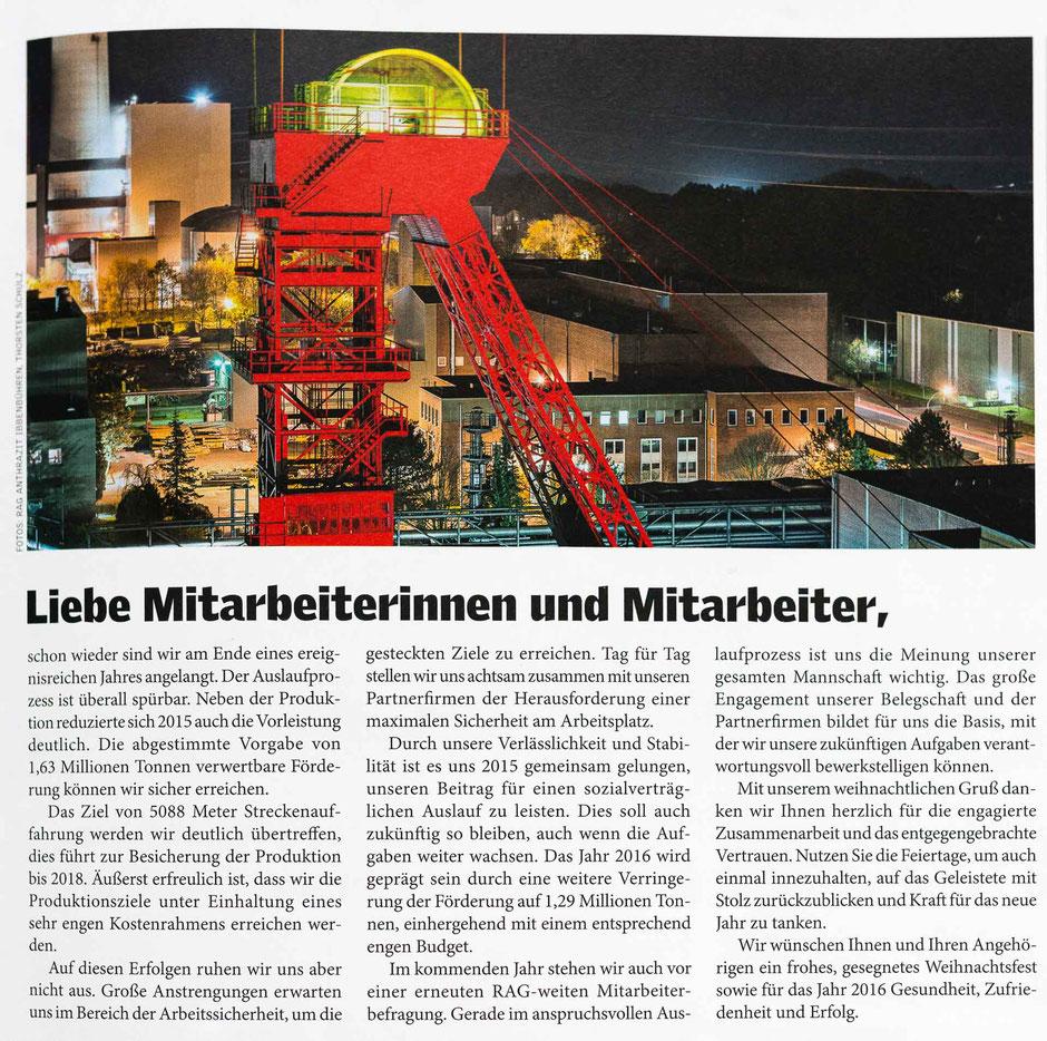 """Mitarbeitermagazin """"Steinkohle"""" der RAG AG, Ausgabe 12/2015"""