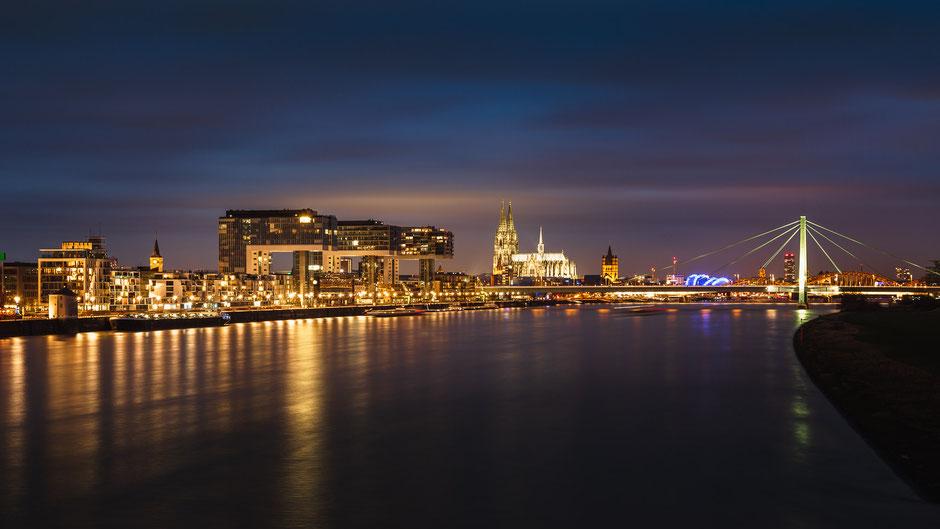 Skyline Köln, Deutschland, Architektur, Skylines, Cityscape, Stadt bei Nacht