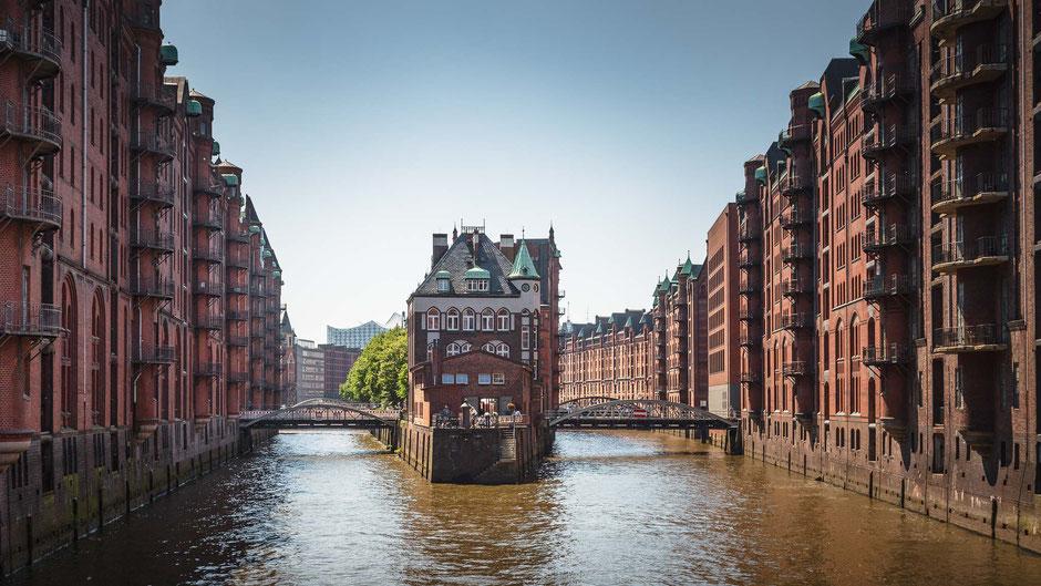 Speicherstadt, Hamburg, Wasserschloss, Architektur, Häfen, Grachten, Speicherhäuser