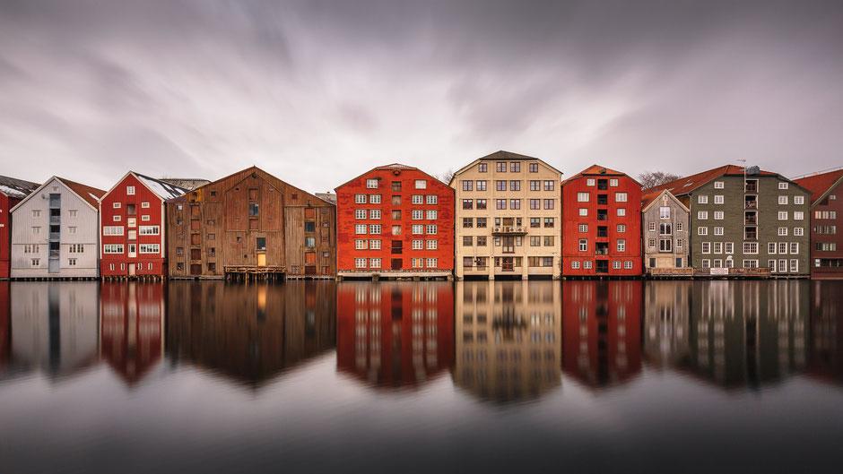 Nidelv Speicherhäuser, Trøndheim, Norwegen