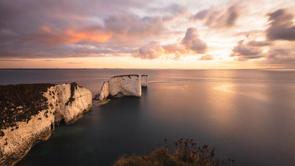 Old Harry Rocks bei Sonnenaufgang, Isle of Purbeck, Dorset, England, GB, Landschaftsfotografie, Landschaft