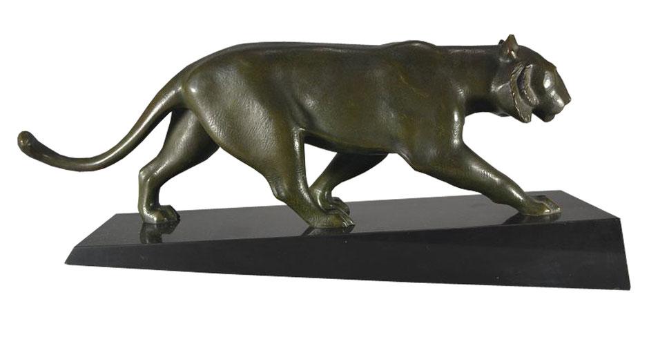 Art Deco Panther, Artdeco Panther, Skulptur, Bronze, Elsouk, signiert, 1930er
