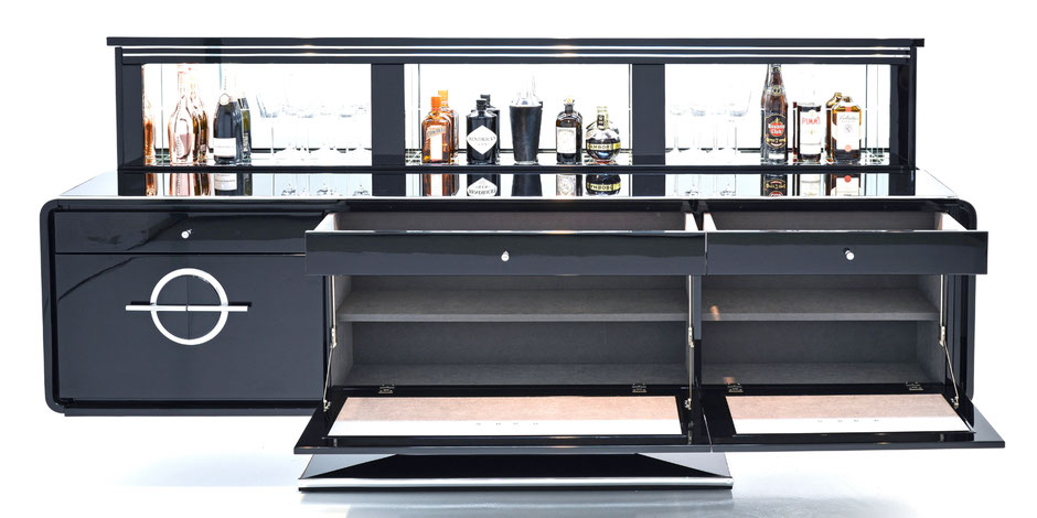 bond bar das repr sentative sideboard mit versenkbarem. Black Bedroom Furniture Sets. Home Design Ideas
