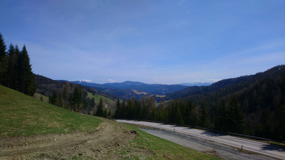 Pretalsattel, Rax, Stuhleck, Blick Richtung Groß Veitsch