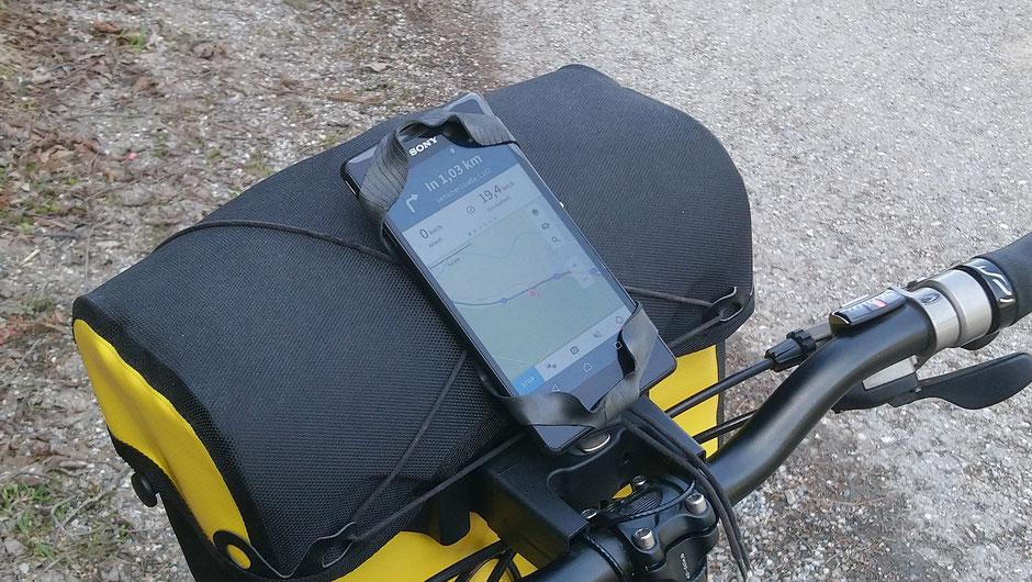 Handyhalterung, Fahrrad, Ortlieb Lenkertasche, Navigation, Komoot