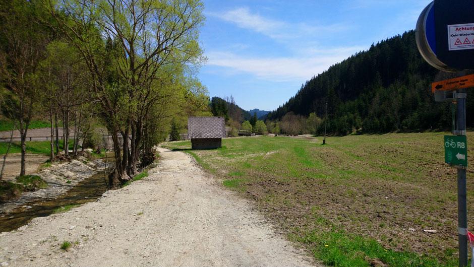 Radweg R8, Hirschbach, Wiesen und Wälder