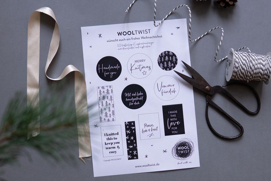 kostenlose Geschenkanhänger zum Ausdrucken von Wooltwist