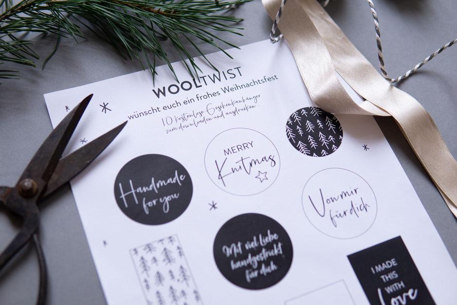 freeprintable gift hangtags von Wooltwist