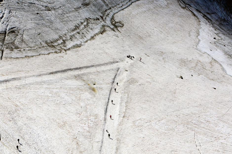 Glaciaristes. Le glacier des Grands Montets. Vue depuis l'Aiguille des Grands Montets (3.300 m). Argentière. Haute-Savoie.
