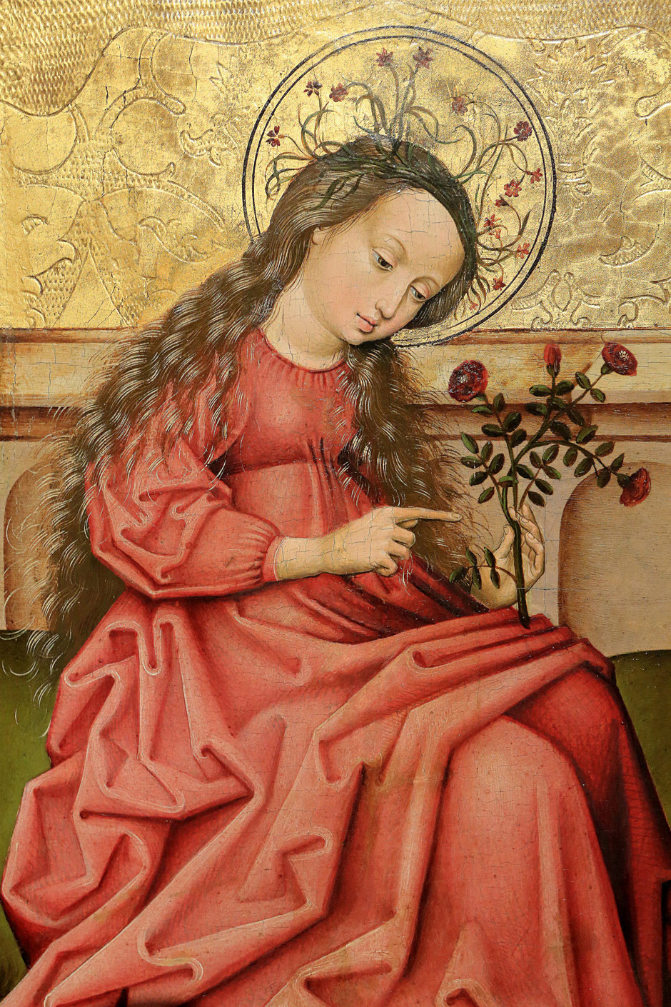 Madonna of the garden or Sainte-Dorothée. Anonymous Rhenish Master, sixteenth century. Around 1460-1470. Oil on panel tree. Oeuvre Notre Dame Museum in Strasbourg.