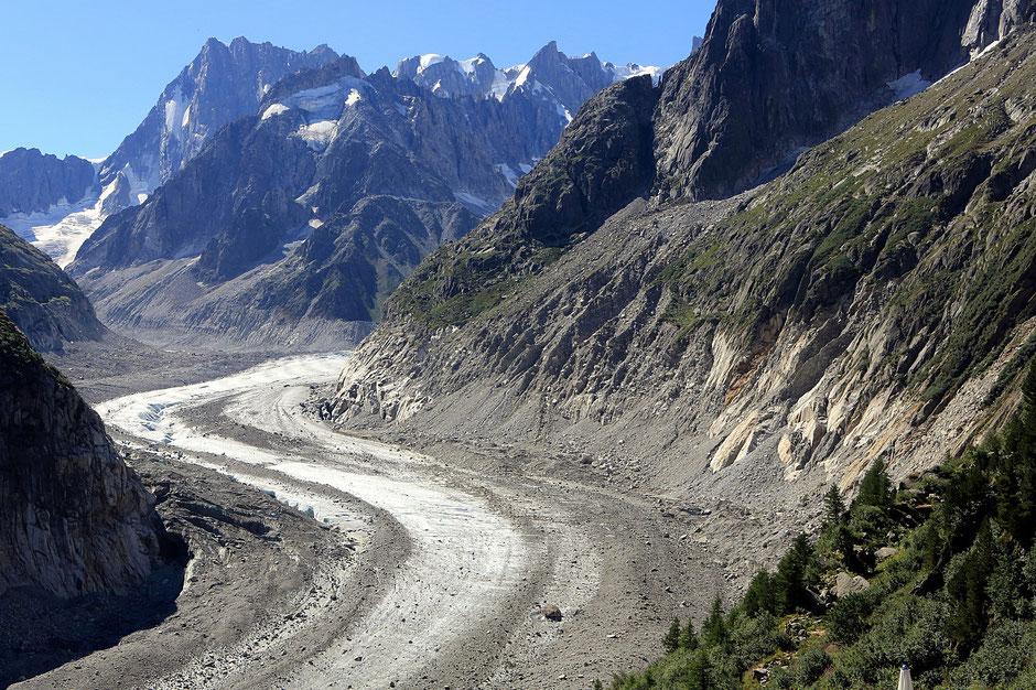 La Mer de Glace. Les Grandes Jorasses (4.208 m). Massif du Mont-Blanc. Montenvert. Chamonix Mont-Blanc. Haute-Savoie.