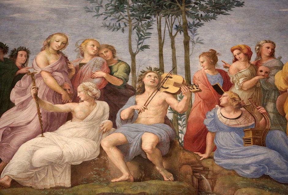 Le Parnasse. 1509-1511. Raphael. Fresque du peintre italien Raphaël. 1509-1510. Chambres de Raphaël. Musée du Vatican. Roma.
