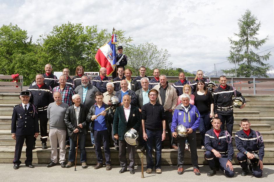 Les pompiers. Cérémonie du 8 mai. 2015. Saint-Gervais-les-Bains. Haute-Savoie.