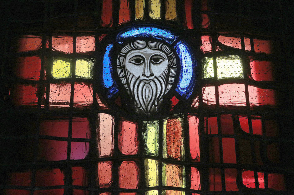 Jesus Christ. Stained contemporain.1060. St. Peter and St. Paul's Church. Wissembourg.