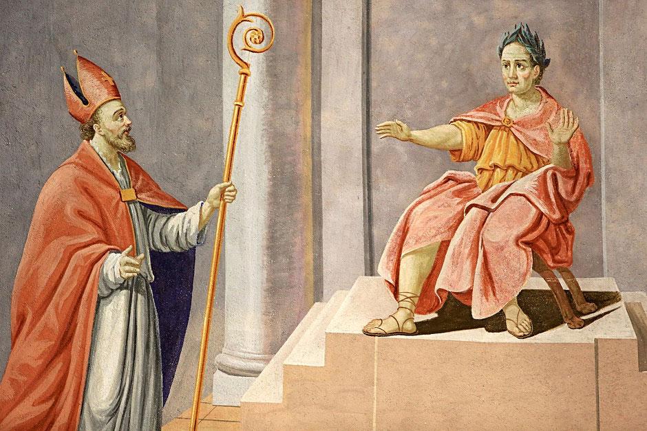 Saint-Nicolas prononce un jugement de Salomon. Eglise Saint-Nicolas de Véroce.