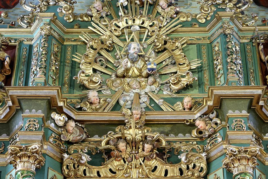 Le Père Eternel. Retable du maître-autel. Eglise Notre-Dame de l'Assomption. Cordon.