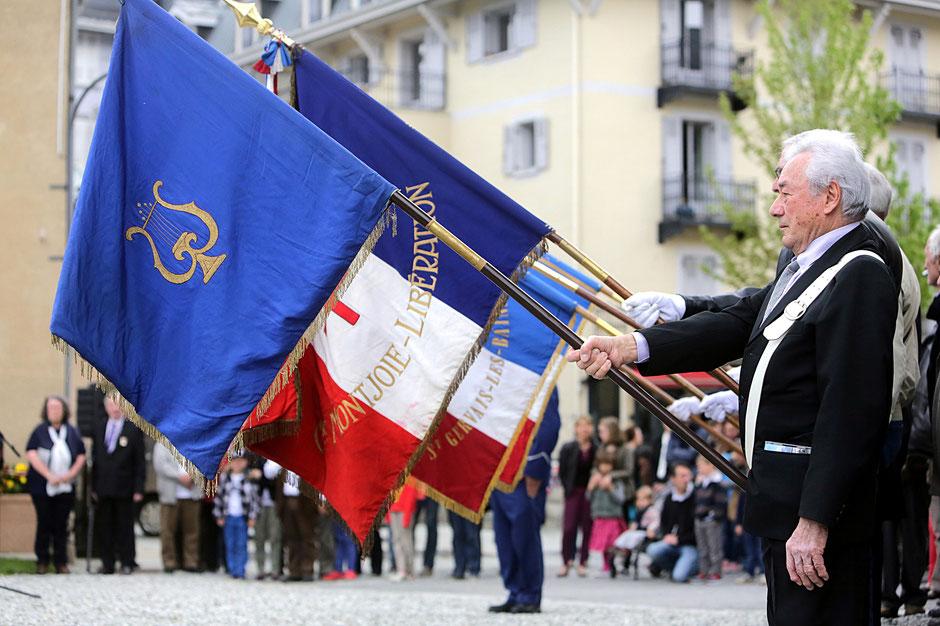 Cérémonie du 8 mai. 2015. Saint-Gervais-les-Bains. Saint-Gervais-les-Bains. Haute-Savoie.
