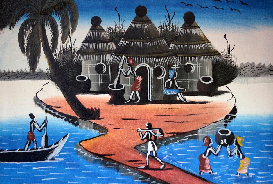 Peinture de cases sur un lac et de pêcheurs. Ouidah.