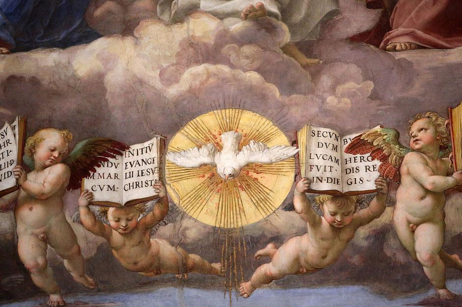 Détails. La Dispute du Saint-Sacrement. 1509-1510. Raphael. Fresque du peintre italien Raphaël. 1509-1510. Salle de la Signature. Musée du Vatican. Roma.