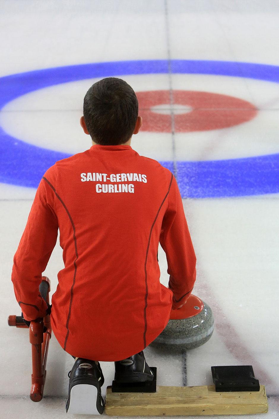 Curling. Patinoire de Saint-Gervais-les-Bains. Haute-Savoie.