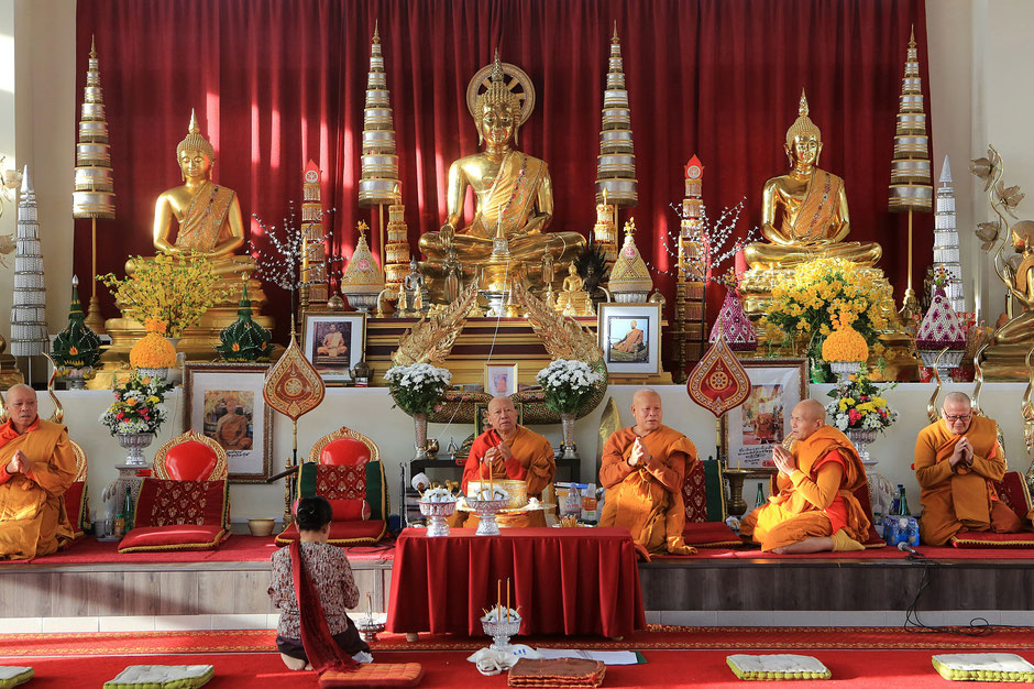 Commémoration en hommage aux victimes du régime communiste au Laos. Monastère bouddhiste laotien Wat Velouvanaram.