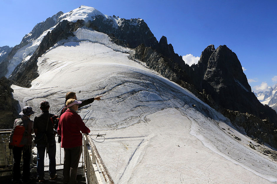 L'Aiguille Verte (4.122 m). Les Drus (3754 m). Le petit Dru (3.730 m) et le grand Dru (3.754 m). Le glacier des Grands Montets. Vue depuis l'Aiguille des Grands Montets (3.300 m). Argentière. Haute-Savoie.