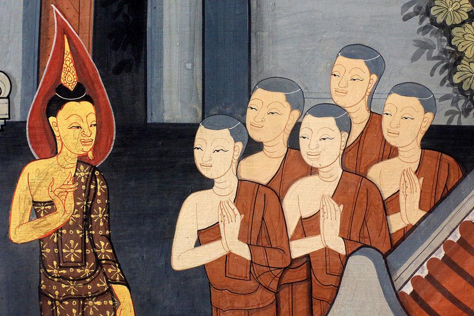 Prince Rama. Fresque murale sur les murs intérieurs du Vihara datant de l'époque du roi Rama III et représentant le Ramakian. Wat Pho - Wat Phra Chettuphon. 1788. Bangkok.